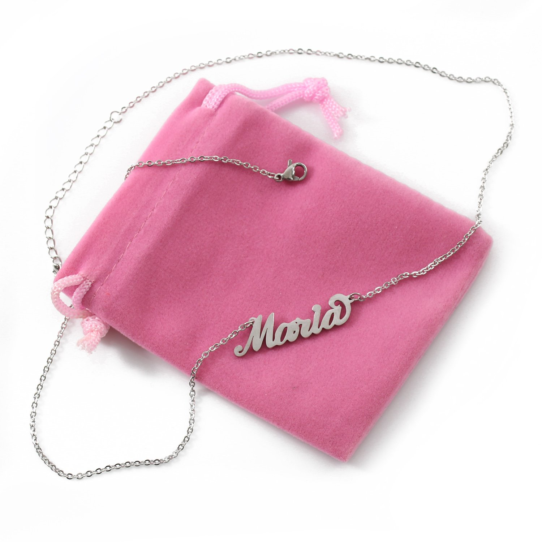 Italic Name Necklace MARIA Silver Tone