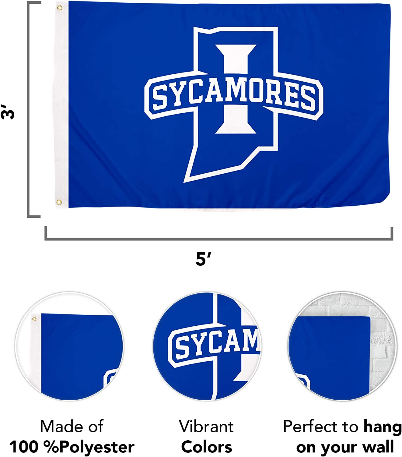 Design #2 Indiana State University NCAA 100/% Polyester Indoor Outdoor 3 feet x 5 feet Flag
