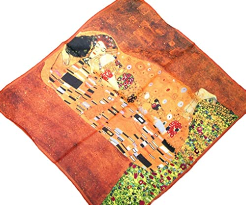 Prettystern P986 - 55cm chic 100% seta Stampa artistica bandana fazzoletto - Gustav Klimt - bacio