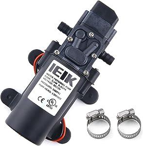 IEIK 12 Volt Diaphragm Pump 3LPM 0.8 GPM 100PSI Self Priming Sprayer Pump 12V DC Fresh Water Pump with Pressure Switch Adjustable for RV Camper Marine Boat Lawn (30W)