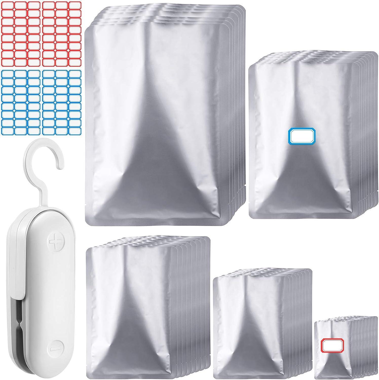 80 Pieces Mylar Aluminum Foil Bags Metallic Mylar Foil Flat Heat Sealing Bag Food Storage Bag Pouch with 1 Pieces Mini Bag Sealer Handheld Heat Sealer Cutter Bag Sealer and 96 Pieces Stickers