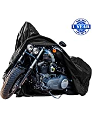 New Generation Motorcycle Cover ! XYZCTEM All Weather Black XXXL Large-Best Quality Waterproof Outdoor Protects Fits up to 118 inch Harley Davidson Honda SuzukiYamaha and More -1 Year Warranty