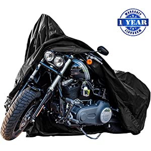 New Generation Motorcycle cover ! XYZCTEM All Weather Black XXXL Large Waterproof Outdoor Protects Fits up to 118 inch for Harley Davidson, Honda, Suzuki,Yamaha and More -1 Year Warranty