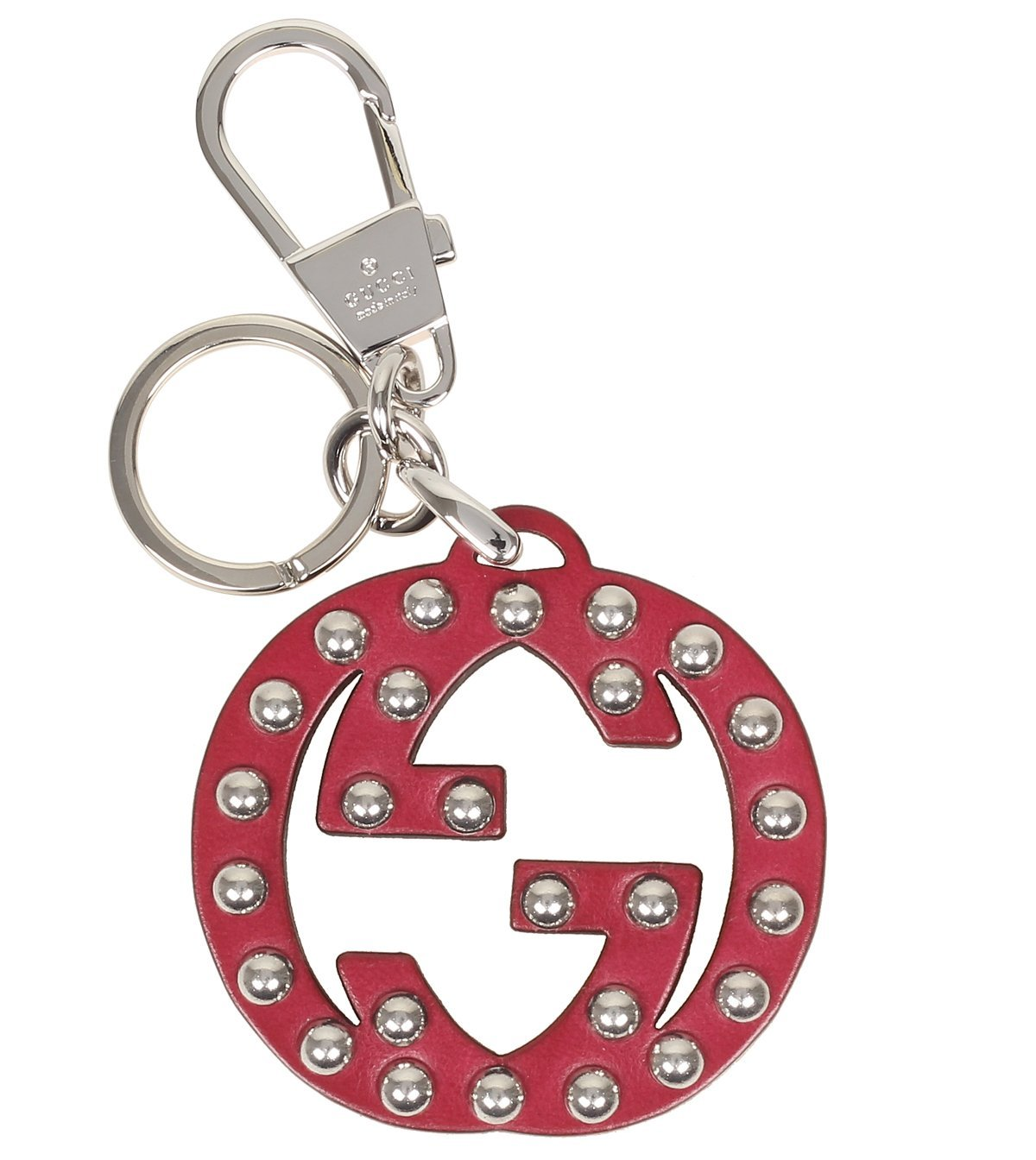 Gucci Interlocking GG Studded Red Leather Key Ring Charm 389053