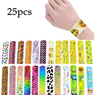 Todens 25pcs Slap Bracelets Set Heart Animal Print Party Wrist Strap for Adult Teens Kids with Assorted Colors