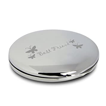 c357b9b8d44 Silver Finish Engraved Best Friend Round Compact Mirror with Butterflies  Great Gifts Idea for Birthday Gift Christmas Friends Presents   Amazon.co.uk  Beauty