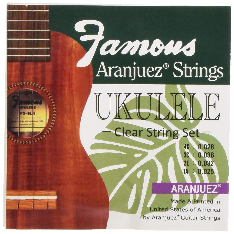 【Famous】 ウクレレ用 アランフェス弦 セット(クリア弦 ナイロン オールサイズ対応)