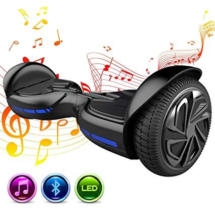 GeekMe 6.5 Pulgadas Patinete Eléctrico Scooter Eléctrico Auto Equilibrio Inteligente Built-in Bluetooth Speaker Flashing LED Luces para Niños y ...