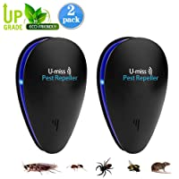 U-MISS Ultrasonic Pest Repeller,Indoor Pest Control Ultrasonic Insect Repellent For Cockroach, Mice, Rodents, Spiders, Flies, Ants, Fleas (2pack)