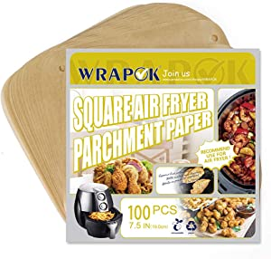 WRAPOK Air Fryer Parchment Paper Liner 7.5 Inch Unbleached Non-Stick Perforated Sheet for Meats, Chips or Cookies - 100 Count