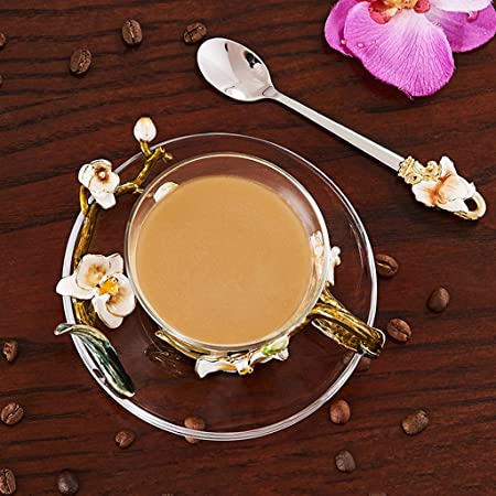 Gbf Taza de café Taza de café Set de té de la Tarde casera Taza de Cristal Taza de café de Cristal Hermosa: Amazon.es: Hogar