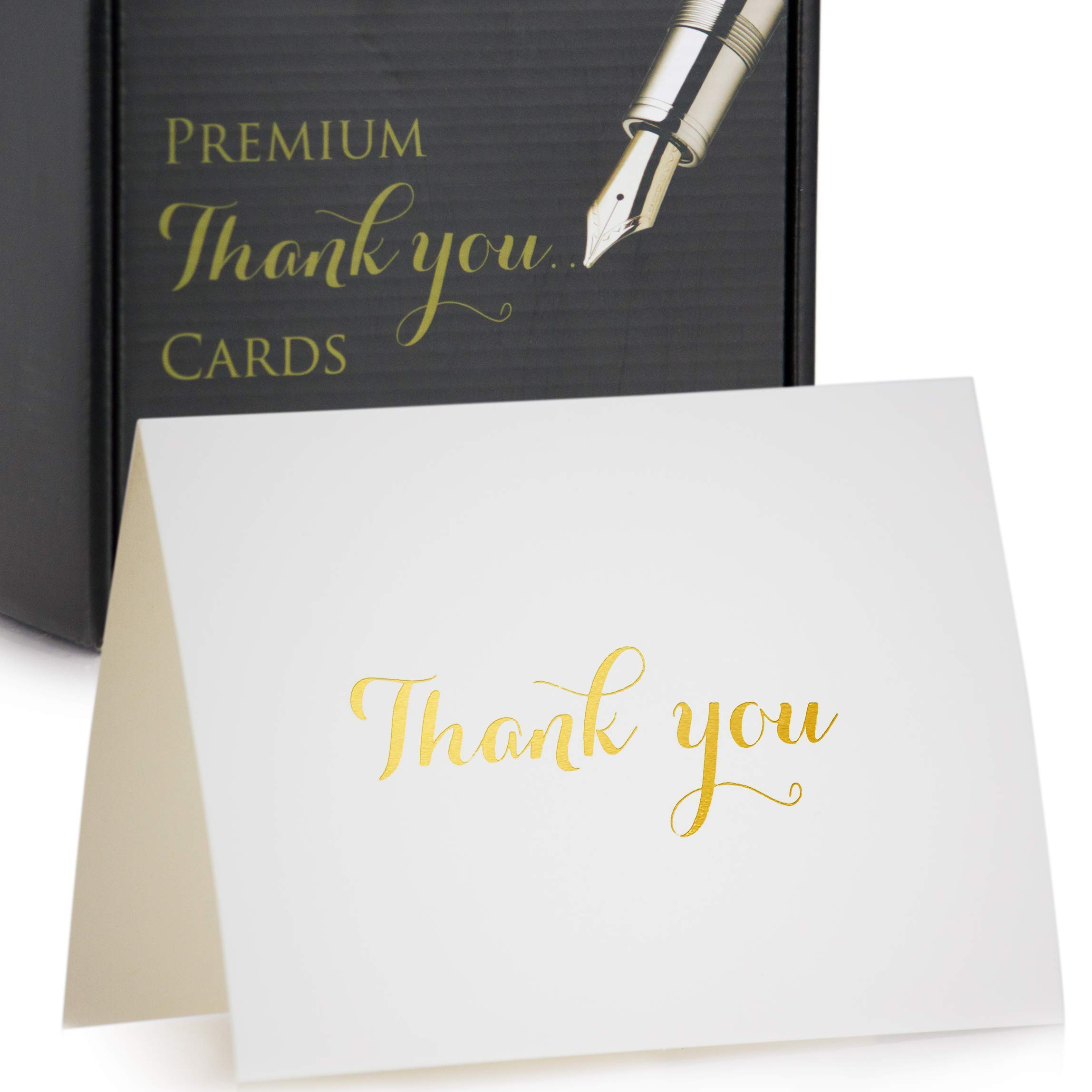 Thank You Cards - Set Of 100 White Thank You Notes In Gold Foil Embossed Lettering And Matching Bulk Envelopes - Perfect For All Occasions Including Weddings, Bridal Showers And Baby Showers