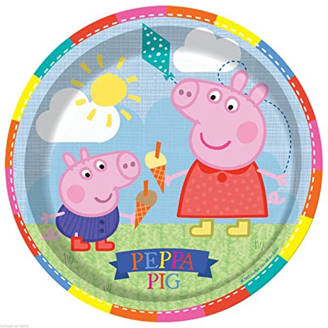 Peppa Pig Paper Plate - 9 Inches / 23cm - Pack of 8  sc 1 st  Amazon.com : paper plate pig - pezcame.com