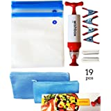 Wishbox Sous Vide bags kit for Anova, Joule, Chefsteps, Gourmia Immersion Precision Cookers. Accessories include -- 10 Reusable Bags (2 Sizes), 2 zip Sealer & 4 Container Clips, 1 Vacuum Hand Pump