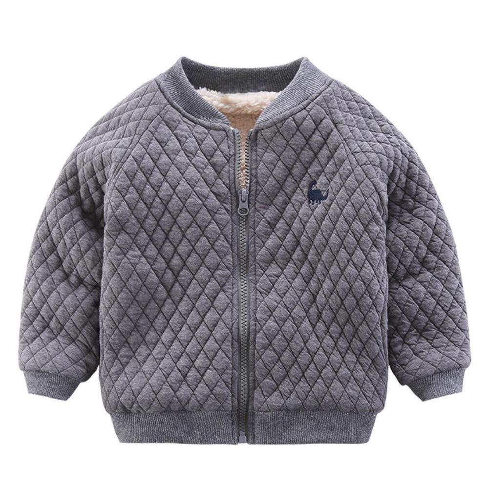 Motteecity Boys Clothes Fall Winter Warm Solid Zipper Dinosaur Coat