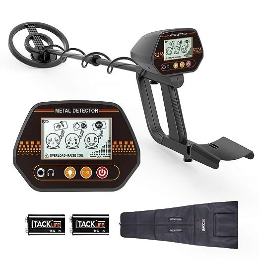 TACKLIFE Detector de Metales, 3 Tono de Audio y Modo Disco, con LCD Pantalla Retroiluminada Grande, Ajuste de Altitud(60-90 cm), Indicador de Batería, ...