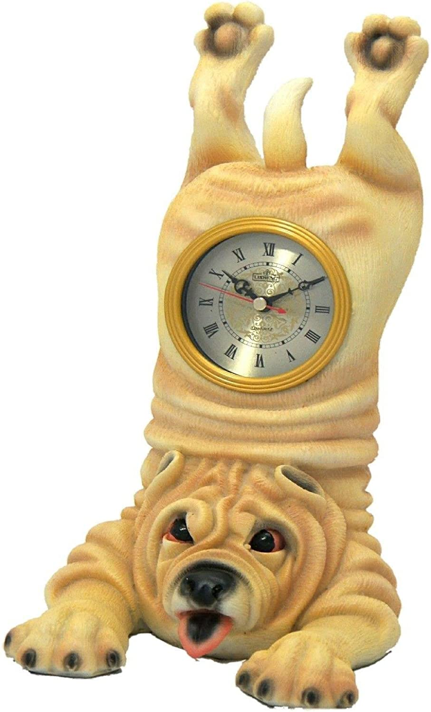 B00EBHKNWS Bulldog Clock Desk Mantel Table Shelf Decor Animal Figurine Clock Dog Statue 71KiRSCtR2L