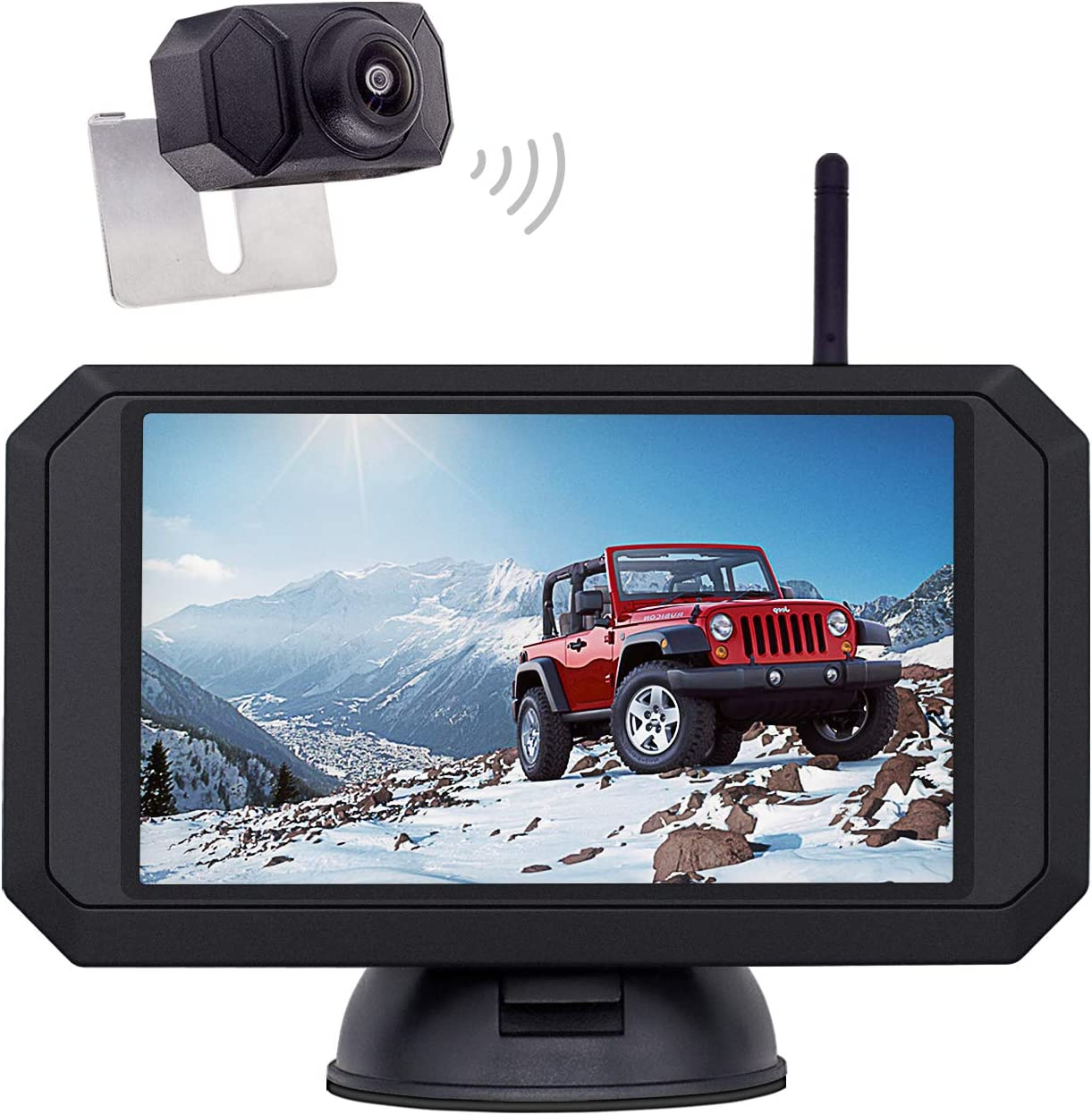 1080P Backup Camera and 5 inch Monitor Kit Digital Wireless Rear View Camera for Car SUV Truck RV Built-in Transmitter with Parking guidelines