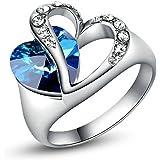 [Oceano amore] Yoursfs Hollow croce doppio amore cuore battere anello zirconi blu chiaro CZ anelli di fidanzamento squisiti regali per le donne