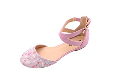 Mila Lady (Kay Womens Pointed Toe Ankle with Floral Print D Orsay Flat  Sandals cc9d720856e5