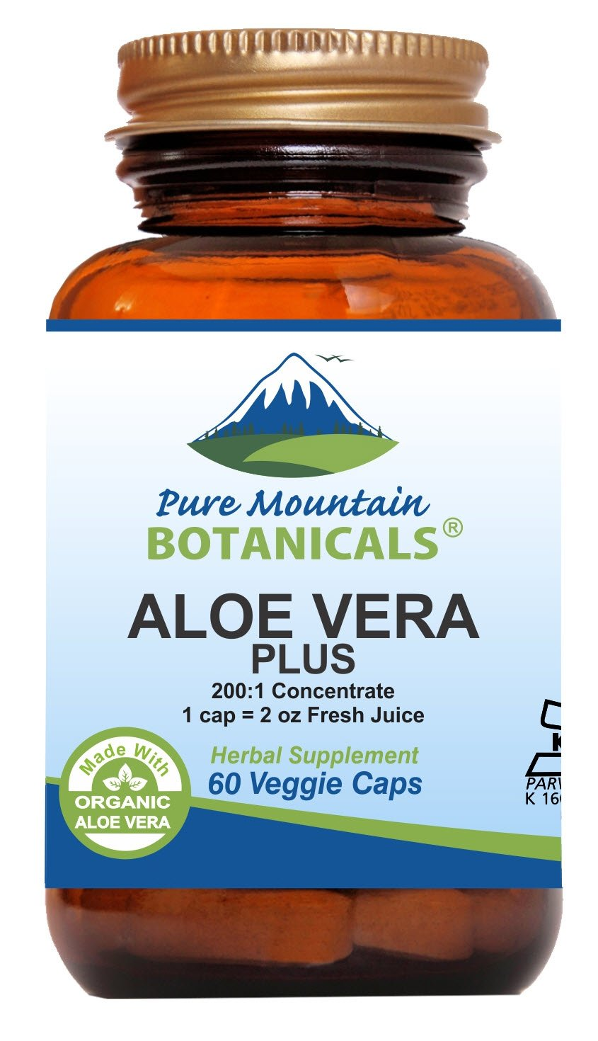 Aloe Vera Plus Capsules. 200 1 Extract. Kosher Organic Dried Aloe Vera Gel, Marshmallow Root, Slippery Elm