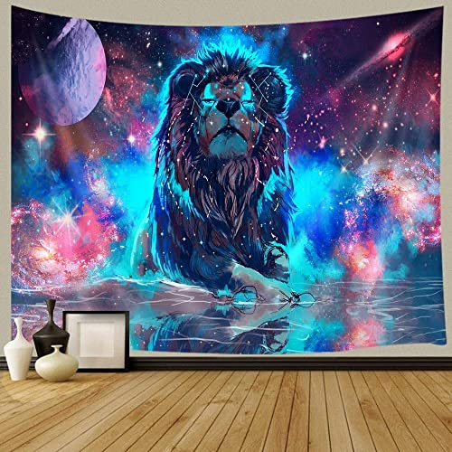 KOTOM Fantasy Decor Tapestry Universe Galaxy Lion Wall Art Hanging for Bedroom Living Room Dorm 90X70Inches Wall Blankets