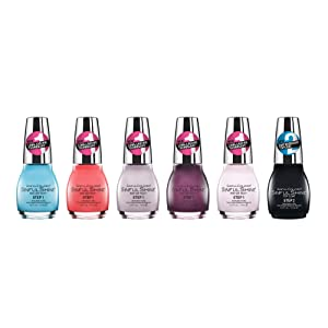 SinfulColors Sinfulshine Creme Nail Polish Collection, Pack of 6 (Caribbean Cool, Sinorita, Prosecco, Plumberry, Tutu Thrill, SinfulShine Top Coat)