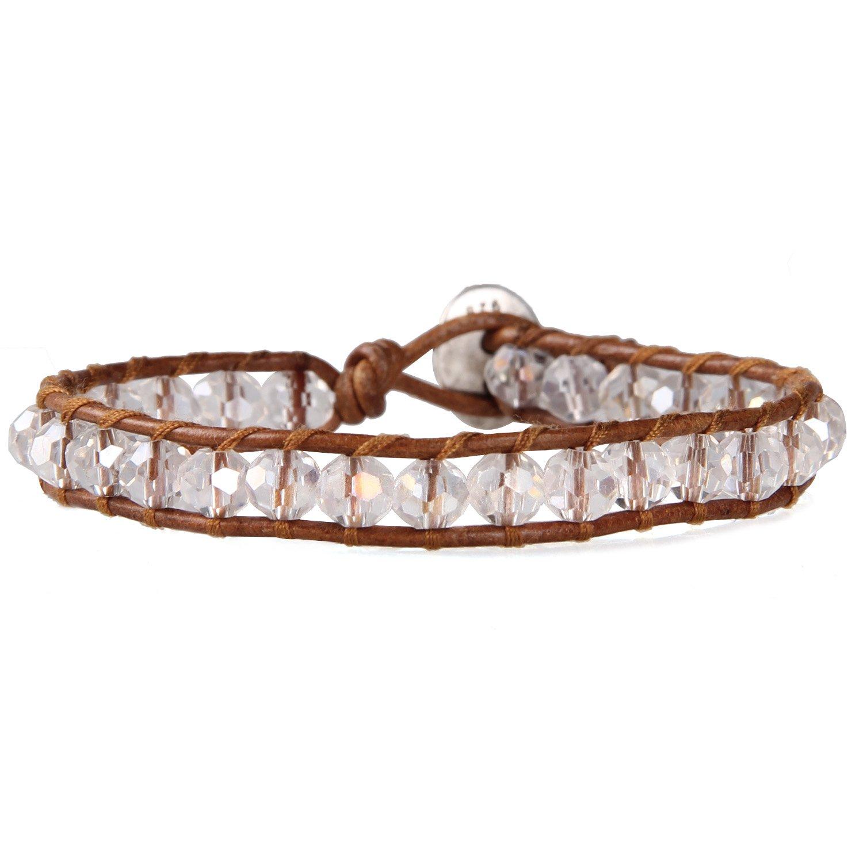 KELITCH Crystal Beaded Wrap Bracelet Natural Leather Handmade Strand Charm Girls Jewelry AZ1WS00007CK