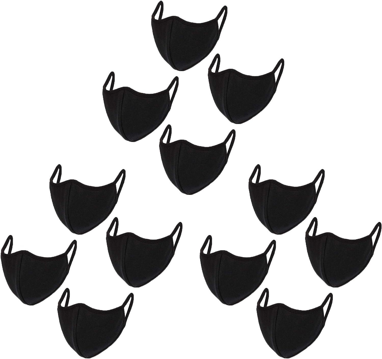 WITHMOONS 12PCS Cotton Face Mouth Bandana Dustproof Facial UV Protective Multiple Layers Cover Reusable Washable Black for Women Men EU0301