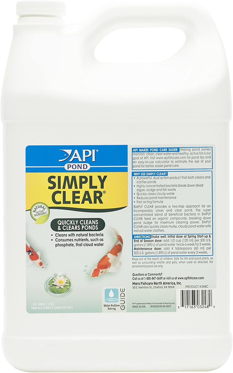 API Pond Simply Clear Bacterial Clarifier, Clears Cloudy Water and consumes Sludge Quickly, Use Every Two Weeks in Freshwater Ponds for Best Results