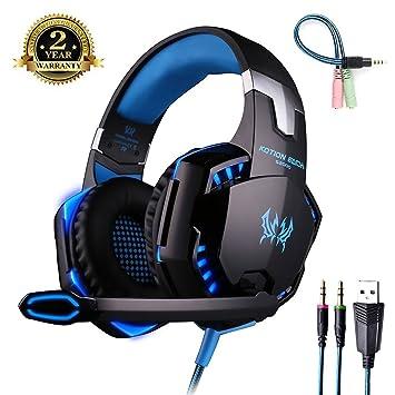 Auriculares con Micrófono para PS4 Auriculare Gaming [ Micrófono Ajustable ] Estéreo y Control de Volumen