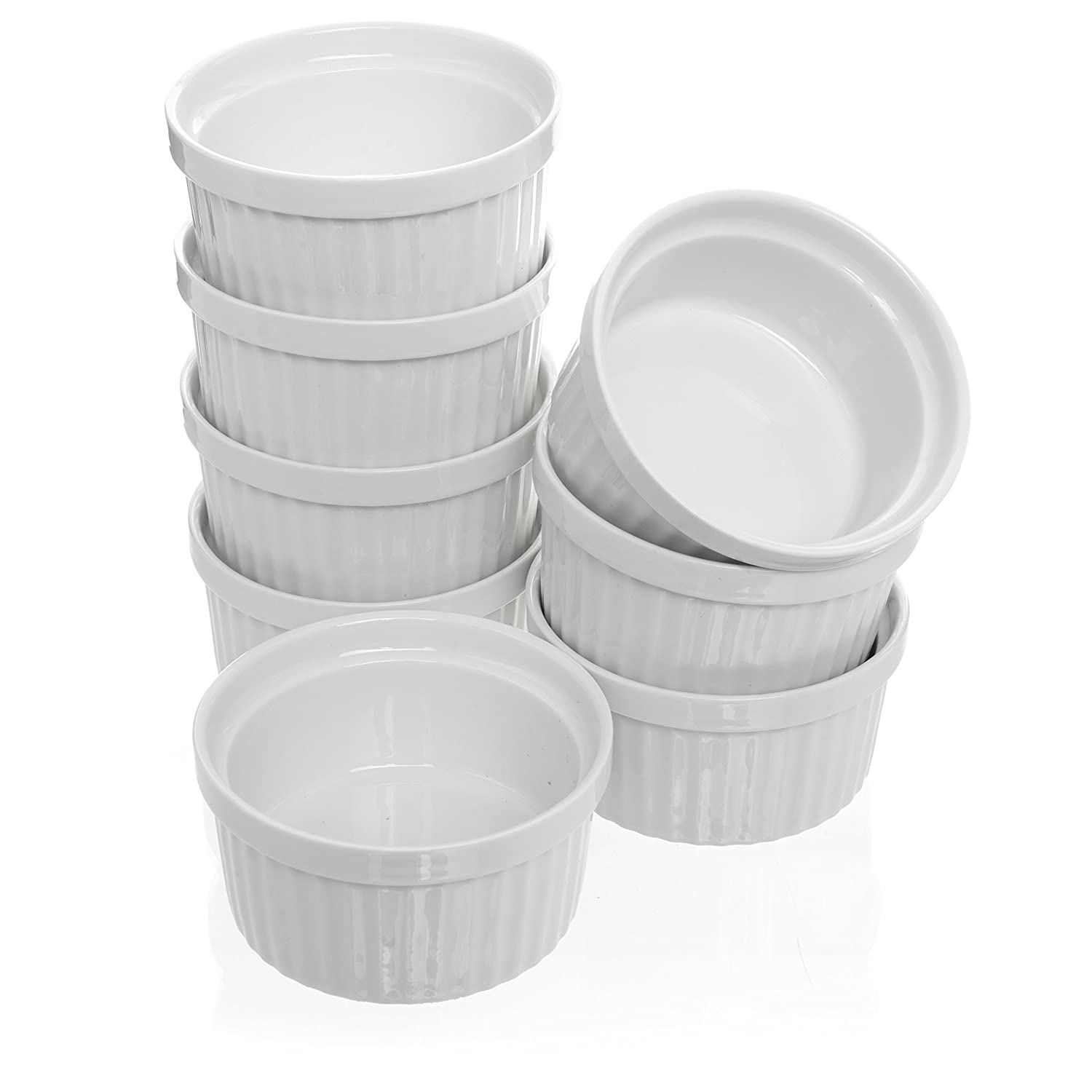 (Set of 8) 4 oz. Porcelain Ramekins, White Bakeware, Soufflé Cups Dishes, Creme Brulee, Pudding, Custard Cups, Dessert Bowls, Condiment Servers Soufflé Cups Dishes California Home Goods