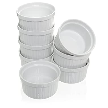 (Set of 8) 4 oz. Porcelain Ramekins, White Bakeware, Soufflé Cups Dishes, Creme Brulee, Pudding, Custard Cups, Dessert Bowls, Condiment Servers