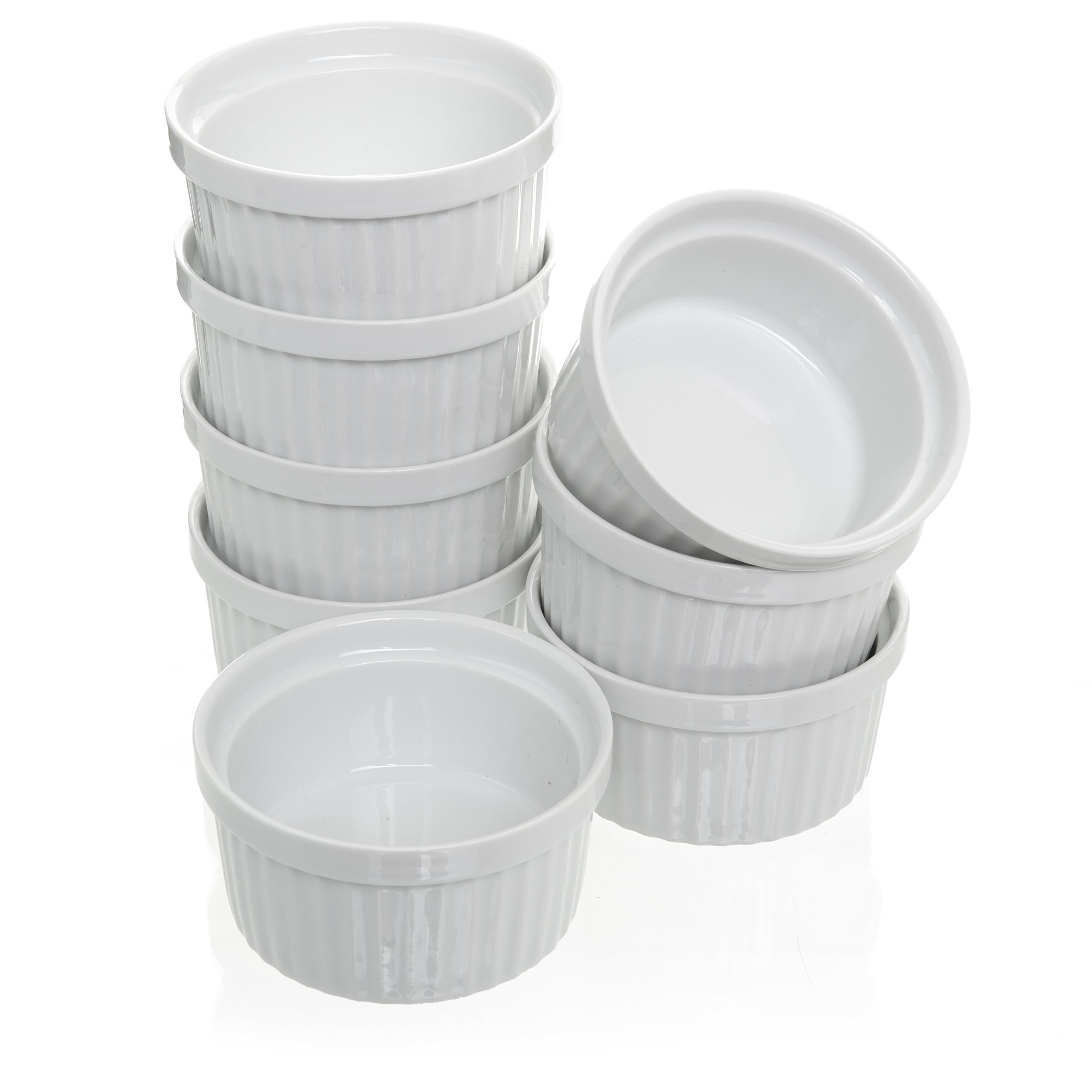 (Set of 8) 4 oz. Porcelain Ramekins, White Bakeware, Soufflé Cups Dishes, Creme Brulee, Pudding, Custard Cups, Dessert Bowls, Condiment Servers by California Home Goods