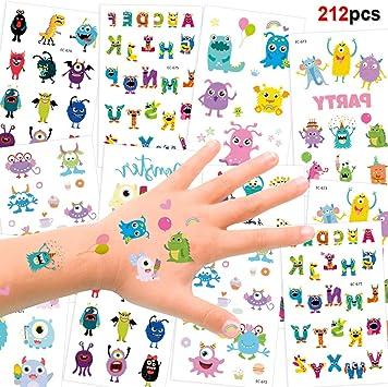 HOWAF Tatuajes Temporales para Niños Niñas, 192pcs Monstruo Animal ...