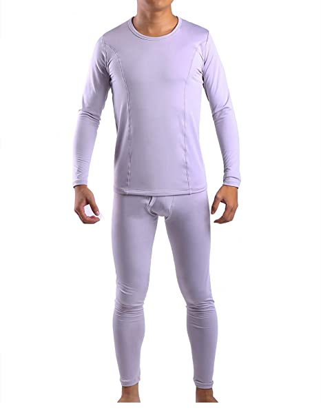 07c75865bf1 Yulee Men s 2pc Fleece Lined Soft Thermal Underwear Long Johns Set Top    Bottom Light Gray