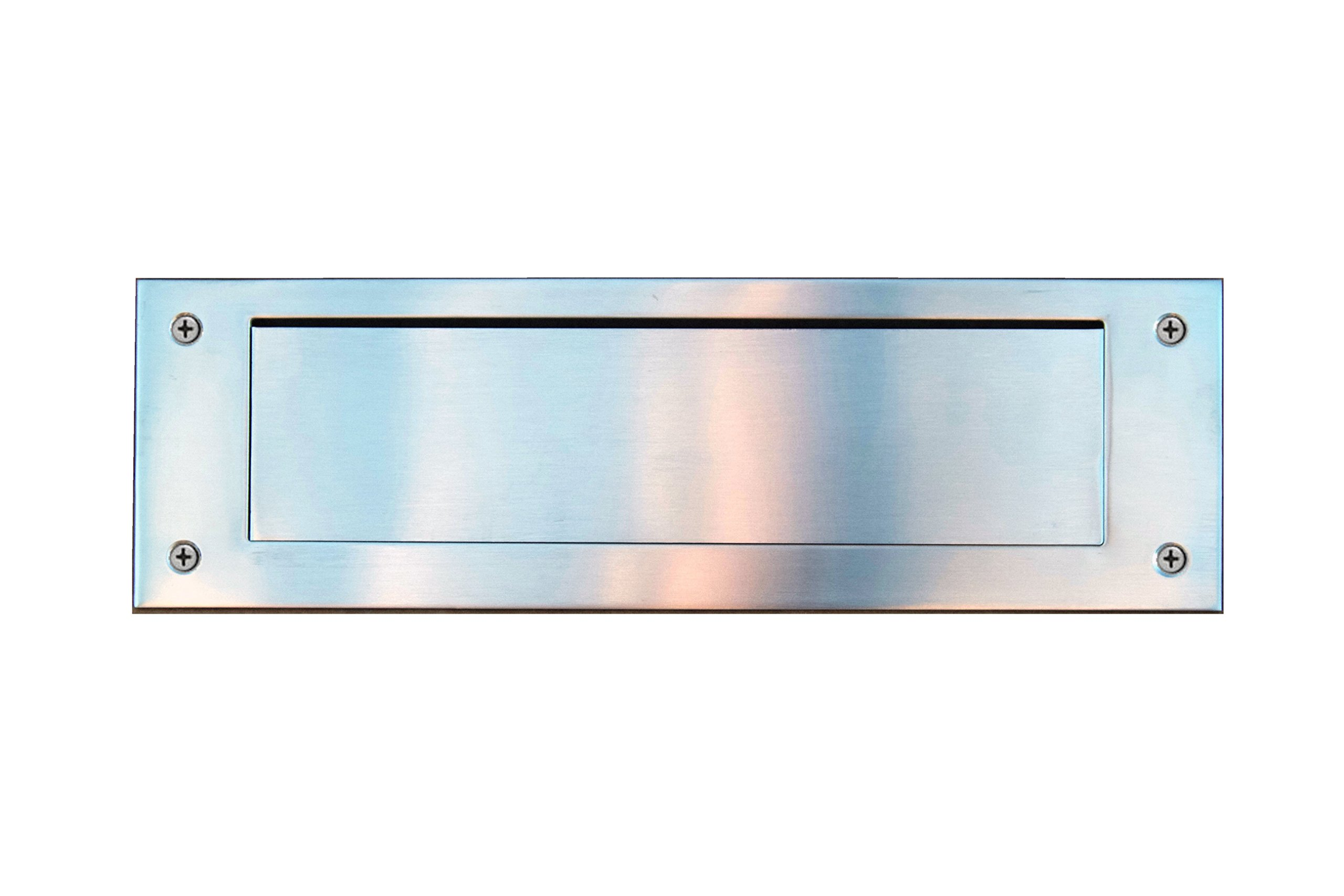 Stainless Steel Door Mail Slot (front & rear pieces), Letter Box Plate Compatible With Any Door Type, 13 in. W x 4 in. H