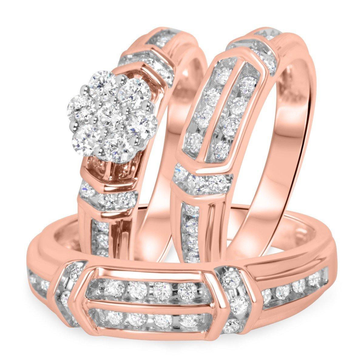 Smjewels 1 1/10 Ct Sim Diamond Men's/Women's Engagement Ring Trio Bridal Set 14K Rose Gold Fn