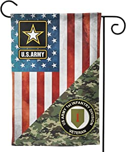 "US Army Veteran 1st Infantry Division Garden Flag Welcome Banner for Patio Lawn Party Yard Home Outdoor Decor, On Both Sides, 12.5""x18"" / 28""x40"""