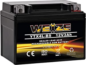 Weize YTX4L BS Motorcycle Battery ETX4L-BS High Performance - Rechargeable - Sealed AGM YTX4L-BS Scooter ATV Batteries compatible with Honda Polaris Kawasaki Suzuki Yamaha