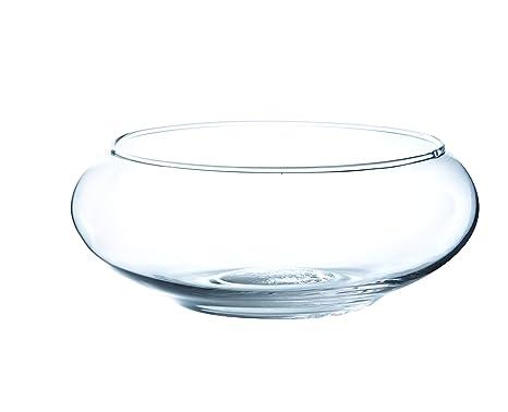 Jarrón de cristal abombado KENDY, transparente, 8 cm, Ø 19,5 cm