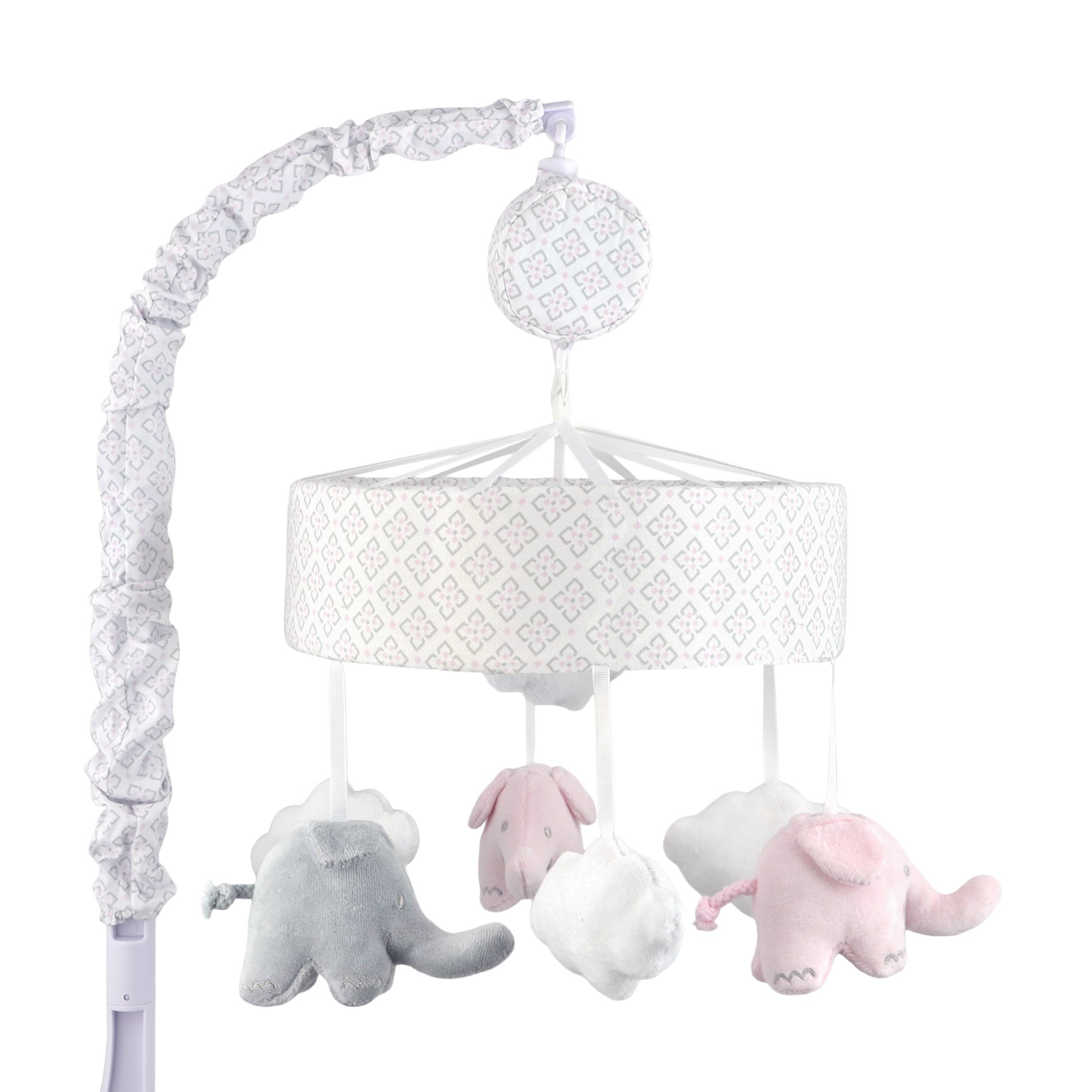 Just Born Musical Mobile, Grey/Pink Elephants