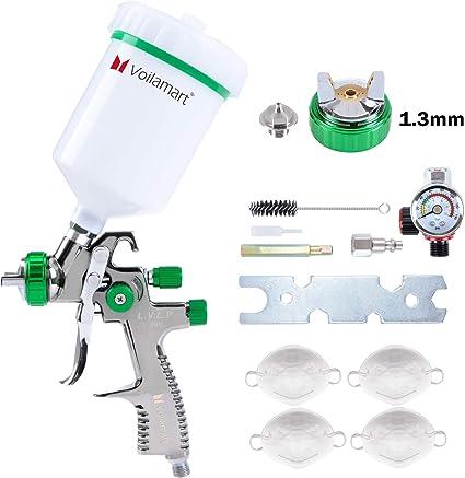 Voilamart Pistola a Spruzzo Pistola spray per vernice LVLP da 1.3 mm ugelli Pistola Spray per Verniciare con Contenitore 600CC Aerografo Alimentazione