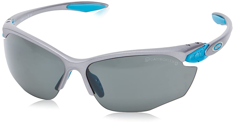Sportbrille Alpina TWIST FOUR QL+, Farbe:titan-cyan;Scheibe:QUATTROFLEX black S3 fogstop