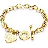 CHIFEI Pulsera de acero inoxidable Titanio Oro Acero Oro rosa con corazón Colgante Love Bible Bracelet Woman