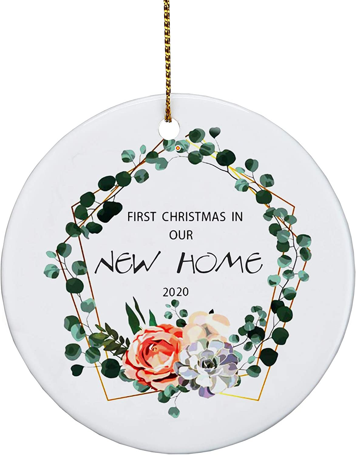 Our First Christmas in Our New Home 2020 ,Eve Family Ornament Ceramic Gifts| Ceramic Handmade Ornaments |Crafts Window Door Kitchen Dress up Hanging – A Year to Remember (Green)