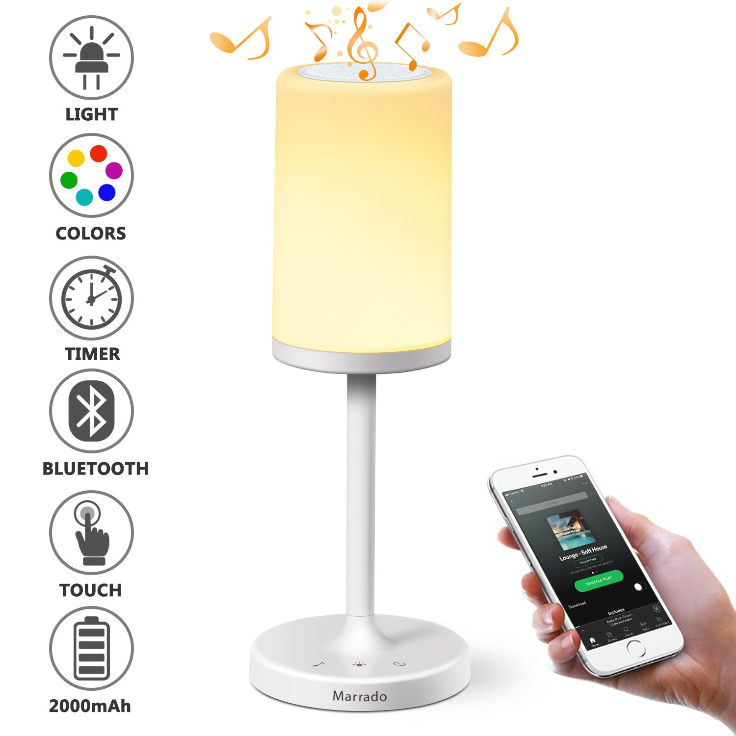 Marrado Bluetooth Speakers + Bedside Lamp, Night Light, Smart Touch Control Table Lamp for Bedroom Living Room, Portable Rechargeable LED Desk Lamp, Dimmable Warm White & Color Changing
