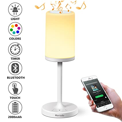 Marrado Table Lamp, Touch Sensor Bedside Lamp + Bluetooth Speaker for Bedroom Living Room Garden Reading, Portable Rechargeable Night Light, Dimmable