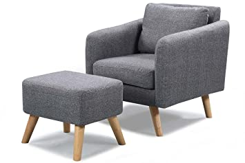 Exceptionnel Longdon Contemporary Fabric Upholstered Armchair With Footstool Ottoman Grey /Black/Charcoal Or Cream (