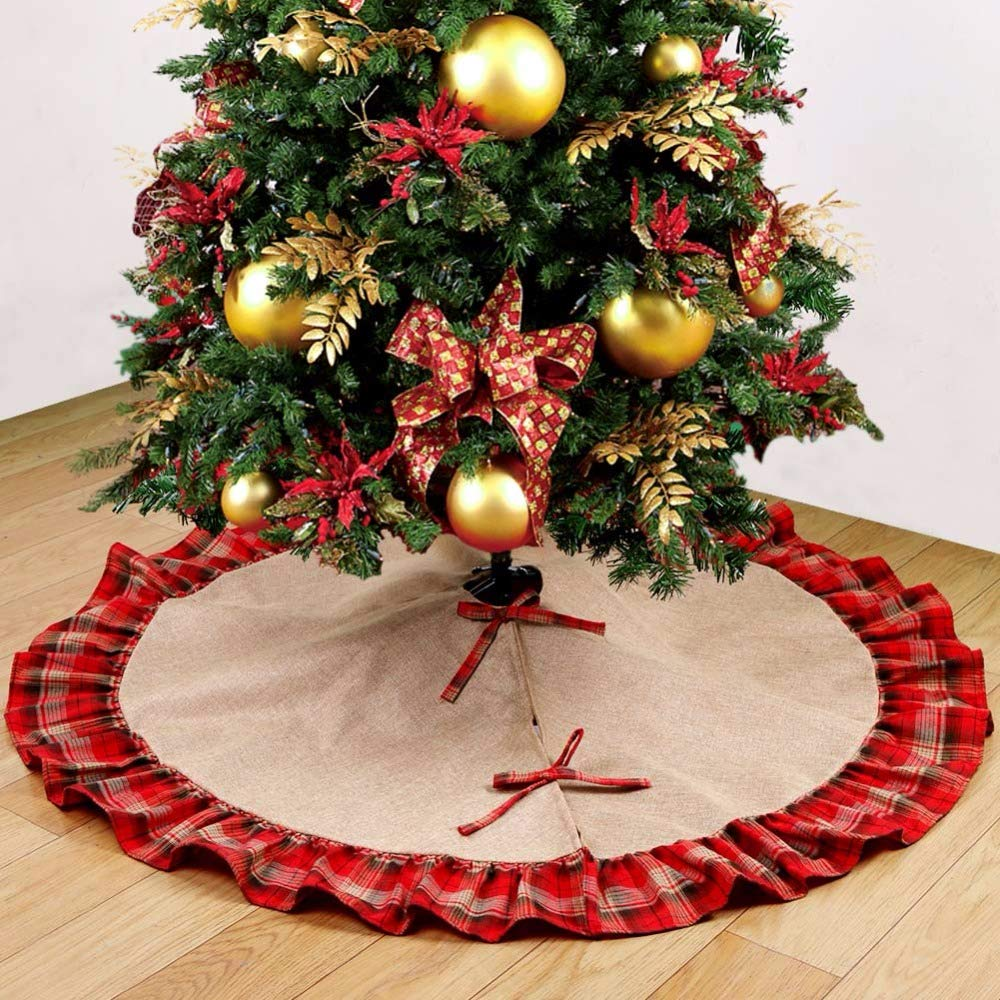 CLYDD Linen Burlap Christmas Tree Skirt 48 inches Buffalo Plaid Pastoral Style New Year Decorations for Xmas Party Holiday